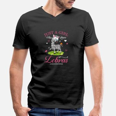 Birthday Just A Girl Who Loves Zebra's Cool Zoo Keeper - Mannen V-hals bio T-shirt