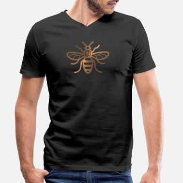 dac62b4358b1 Men's Slim Fit T-Shirt. bees. from £25.87. Manchester Bee - Brushed Metal  Effect Print - Men's Organic V-
