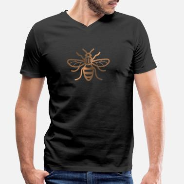 Honey Bee Manchester Bee - Brushed Metal Effect Print - Men's Organic V-Neck T-Shirt