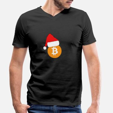 Cash Bitcoin BTC Crypto Christmas - Men's Organic V-Neck T-Shirt