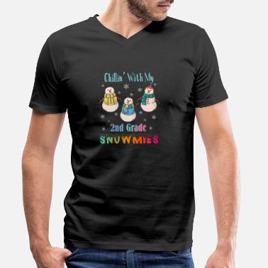 Santa Claus Chillin With My 2nd Grade Snowmies - Men's Organic V-Neck T-Shirt