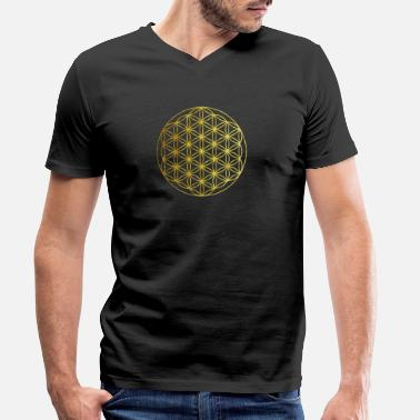 Flower of Life Gold Yoga gaveide - T-skjorte med V-hals for menn