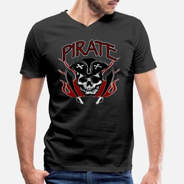 Eye Patch Pirate head with eye patch - Men's Organic V-Neck T-Shirt