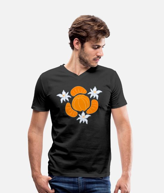 Fruit T-Shirts - Fruits Shirt ● Mandarin with flowers ● Gift - Men's Organic V-Neck T-Shirt black