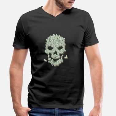 Dollar Skull from dollar bills - Men's Organic V-Neck T-Shirt