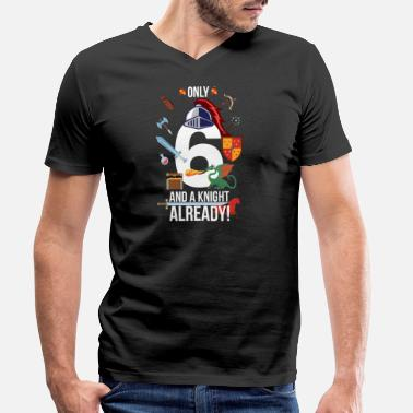 6th Birthday Boy Only 6 And A Knight Already - Men's Organic V-Neck T-Shirt
