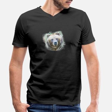 Ecology Bear Brown Grizzly Wild Animal Jungle Nature - Men's Organic V-Neck T-Shirt