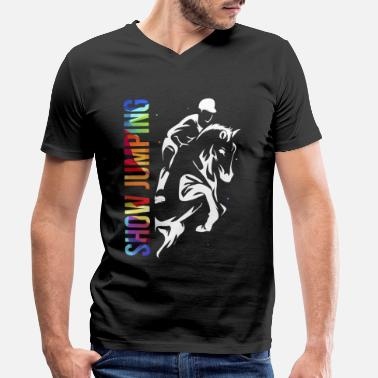 Jumping Show jumping show jumping horse riding - Men's Organic V-Neck T-Shirt