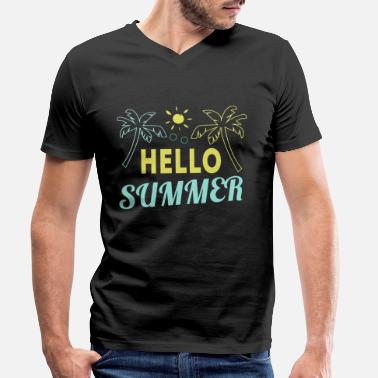 Holiday Hei sommer Hello Summer Holiday skjorter og tanker - T-skjorte med V-hals for menn