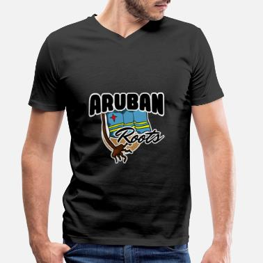 Countries Aruba country and countries - Men's Organic V-Neck T-Shirt