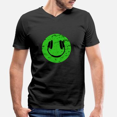 Analogue Acid DJ Emoji with headphones - Men's Organic V-Neck T-Shirt