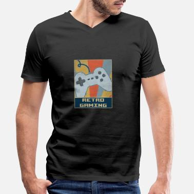 Retro Game Characters Retro Gaming - Men's Organic V-Neck T-Shirt by Stanley & Stella