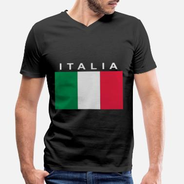 Bandiera italia patch bandiera - Men's Organic V-Neck T-Shirt