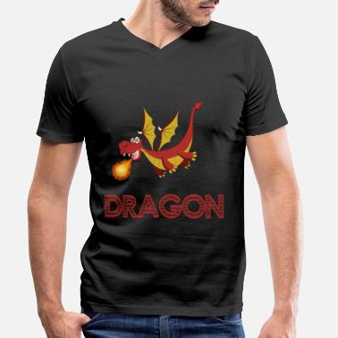 Cartoon Fire Dragon Comic Fire Spit Dino Cartoon Gift - T-shirt med V-udskæring mænd