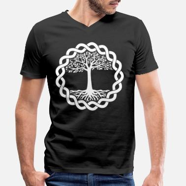 Celtic Celtic Tree of Life, Runes Irish Tree Gaelic - Mannen V-hals bio T-shirt