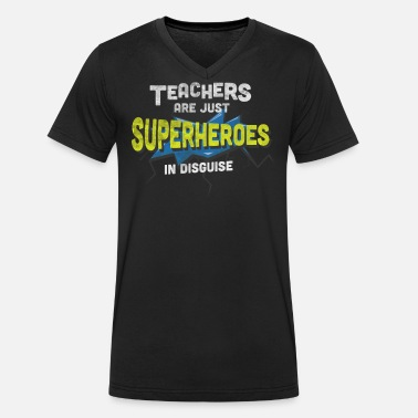 Teacher Awesome Superhero In Disguise Teacher T Shirt - T-skjorte med V-hals for menn