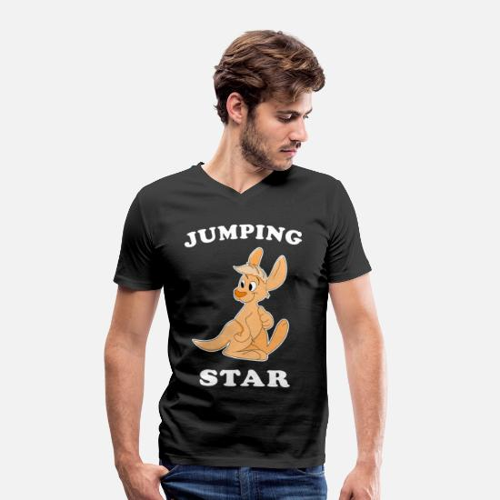 Gift Idea T-Shirts - Kangaroo jumping star gift idea - Men's Organic V-Neck T-Shirt black