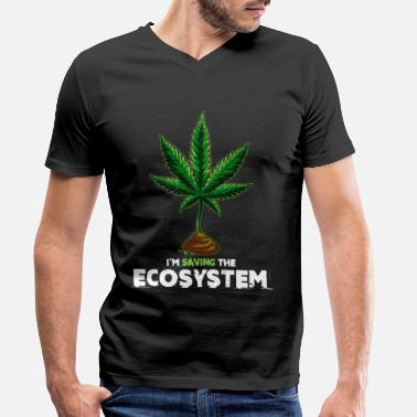 Citations Cadeau d'herbe de cannabis Ganja Statement trendy - T-shirt bio col V Homme