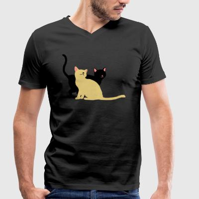 2 cats - Men's Organic V-Neck T-Shirt by Stanley & Stella