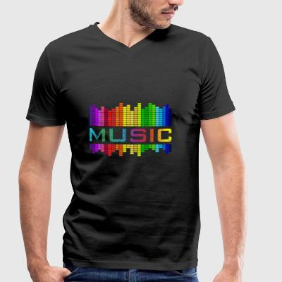 Music Music Equalizer Rainbow Dance Rock Concert - Men's Organic V-Neck T-Shirt by Stanley & Stella