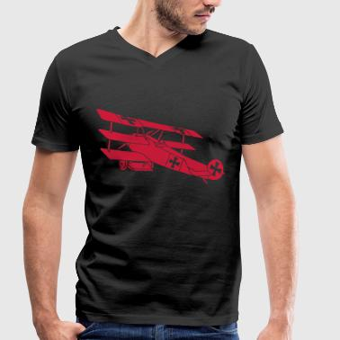 Fokker Airplane Flugzeug Roter Baron Red World War - Men's Organic V-Neck T-Shirt by Stanley & Stella