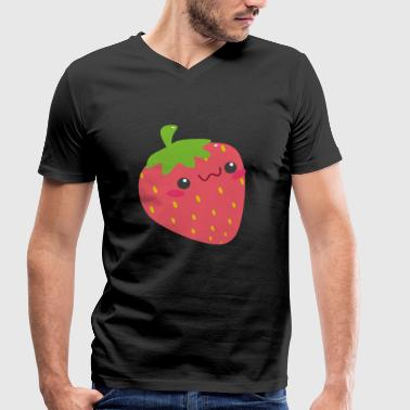 Strawberry with face - Men's Organic V-Neck T-Shirt by Stanley & Stella