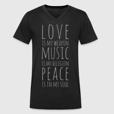 Love, Music & Peace - Men's Organic V-Neck T-Shirt by Stanley & Stella