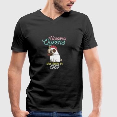 Unicorn Queens are born in 1969 - Men's Organic V-Neck T-Shirt by Stanley & Stella