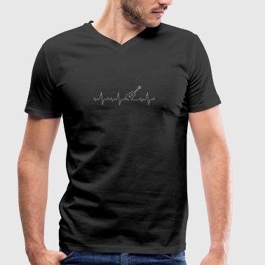 Heartbeat-Guitar Heartbeat guitar music - Men's Organic V-Neck T-Shirt by Stanley & Stella