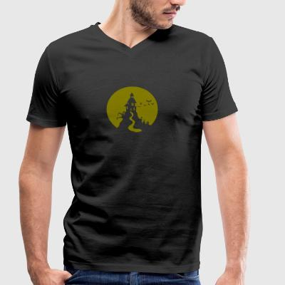 Halloween haunted castle Ghost haunted ghost - Men's Organic V-Neck T-Shirt by Stanley & Stella