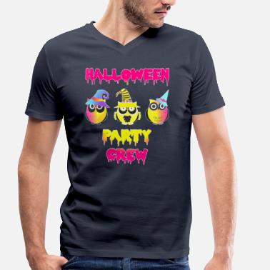 Colorful Crew Halloween party crew owls colorful - Men's Organic V-Neck T-Shirt by Stanley & Stella