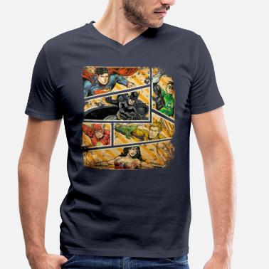 Comic DC Comics Justice League Collage - Männer Bio T-Shirt mit V-Ausschnitt
