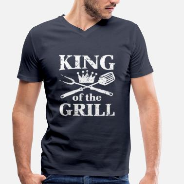 Boozer King of the Grill hot coal burger barbecue  - Men's Organic V-Neck T-Shirt by Stanley & Stella