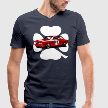 retro racing - Men's Organic V-Neck T-Shirt by Stanley & Stella