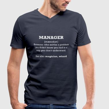 manager - wizard - Men's Organic V-Neck T-Shirt by Stanley & Stella