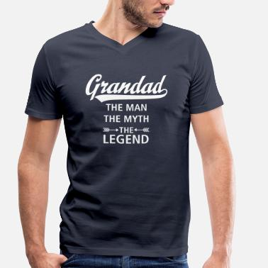 Funny Grandfather Grandad - The Man - The Myth - The Legend - Men's Organic V-Neck T-Shirt by Stanley & Stella
