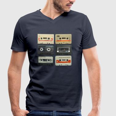 vintage tape: 6 tapes - Men's Organic V-Neck T-Shirt by Stanley & Stella