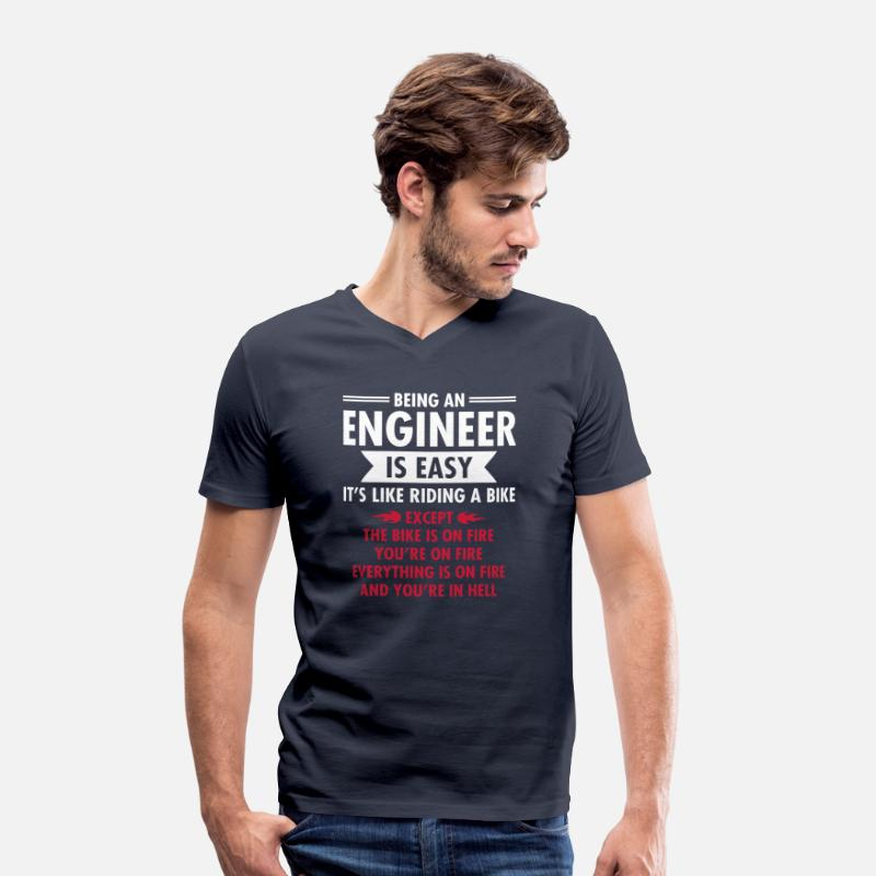 Engineer T-Shirts - Being An Engineer Is Easy... - Men's V-Neck T-Shirt navy