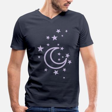 Moon Star moon and stars - Men's Organic V-Neck T-Shirt by Stanley & Stella