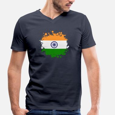 Rupee India stain blob / flag gift Asia - Men's Organic V-Neck T-Shirt by Stanley & Stella