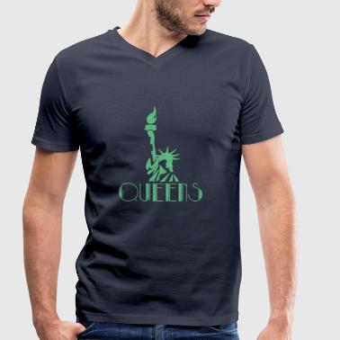 Statue Of Liberty Queens Statue of Liberty - Statue of Liberty - Men's Organic V-Neck T-Shirt by Stanley & Stella
