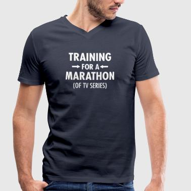 Training For A Marathon (Of TV Series) - Økologisk T-skjorte med V-hals for menn fra Stanley & Stella