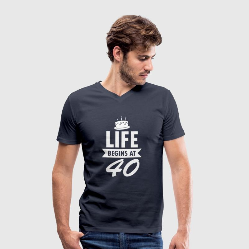 Life Begins At 40 - Men's Organic V-Neck T-Shirt by Stanley & Stella