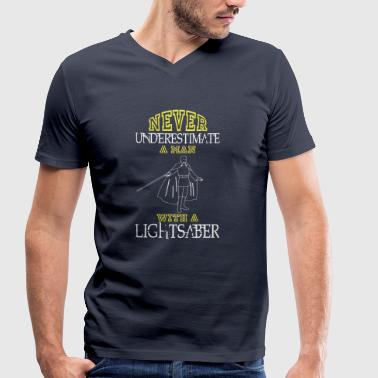 NEVER UNDERESTIMATE A MAN WITH A LIGHTSABER! - Men's Organic V-Neck T-Shirt by Stanley & Stella