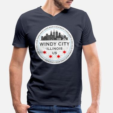 Michigan The Windy City Chicago Illinois US - Men's Organic V-Neck T-Shirt