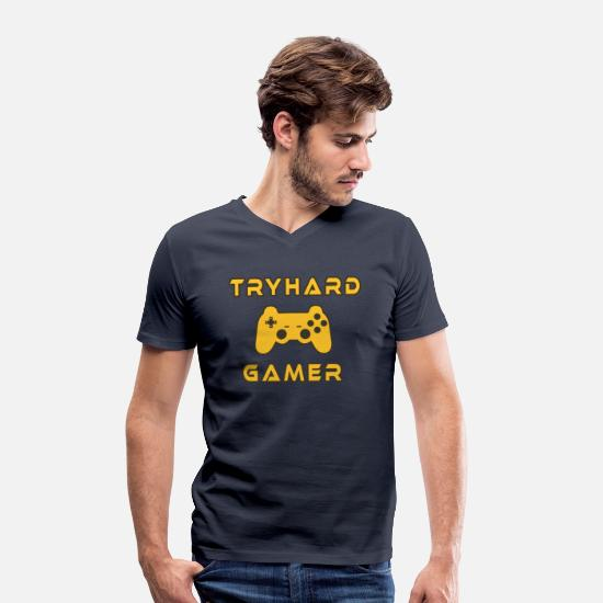 Gift Idea T-Shirts - Tryhard Gamer Gaming Gamepad Console nerd - Men's Organic V-Neck T-Shirt navy