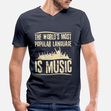 Popular The most popular language is Music - Men's Organic V-Neck T-Shirt