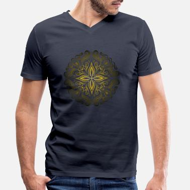 Mandala Gold Luxury Yoga Meditation Gift - Men's Organic V-Neck T-Shirt