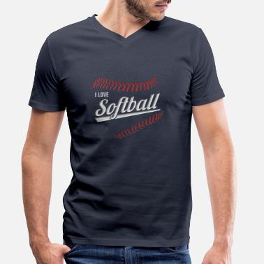 I Love Softball I love softball - Men's Organic V-Neck T-Shirt