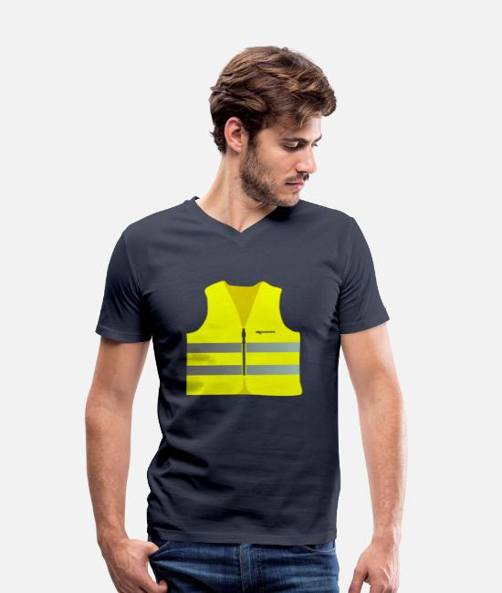 Politics T-Shirts - Safety vest for the Yellow West Protest yellow vests - Men's Organic V-Neck T-Shirt navy